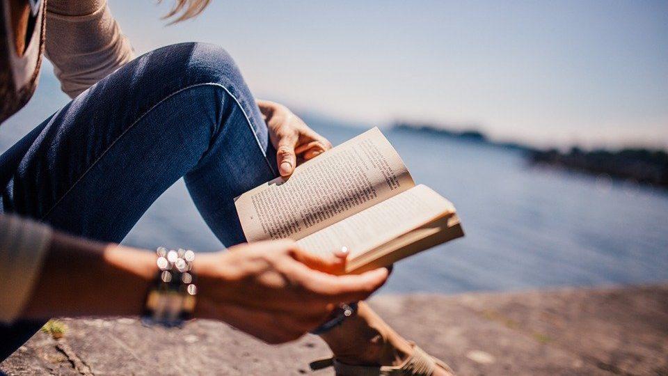 Lecture, Livre, Jeune Fille, Femme, Soleil, Lac, Roman